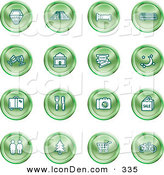 Clip Art of a Set of Green Icons of a Hotel, Road by Train Tracks, Bed, Bus, Wine Glasses, Tickets, Moon, Luggage, Diner, Camera, Shopping, Restrooms, Tree, Shopping Carts and Bicycle by AtStockIllustration