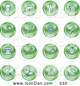 Clip Art of a Set of Green Icons of a Skull, Pistol, Poison, Scales, Magnifying Glass, Knife, Police Badge, Candlestick, Prisoner, Syringe, Sheriff Badge, Pills, Handcuffs and a Noose by AtStockIllustration