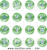 Clip Art of a Set of Green Icons of Cars, a Log, Cash, Lemon, Dealer, Ads, Key, Wrench, Engine, Handshake and Money by AtStockIllustration