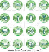 Clip Art of a Set of Green Icons of Food and Kitchen Items on a White Background by AtStockIllustration