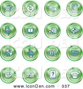 Clip Art of a Set of Green Icons of Security Symbols on a White Background by AtStockIllustration