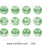 Clip Art of a Set of Green Strength Icons of a Weightlifter, Man Carrying a Globe, Fist, Muscles, Weights, Helmet, Elephant, Anchor, Links and Bull on a White Background by AtStockIllustration