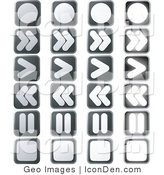 Clip Art of a Set of Music or Video Player Buttons by AtStockIllustration