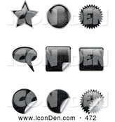 Clip Art of a Set of Nine Black Scratched Star, Circle, Bursts, Peeling Stickers and Word Balloons Designs by KJ Pargeter