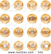 Clip Art of a Set of Orange Icons of a Magnifying Glass, Cash Register, Flashlight, Internet, Film, Upload, Download, Home Page, and Connectivity by AtStockIllustration