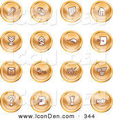 April 6th, 2013: Clip Art of a Set of Orange Icons of a Magnifying Glass, Email, Home Page, Upload, Download, Mouse, Key, Disc, Padlock, Speaker, Www, Questionmark, and Exclamation Point by AtStockIllustration
