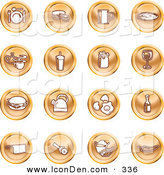 Clip Art of a Set of Orange Icons of Food and Kitchen Items on a White Background by AtStockIllustration
