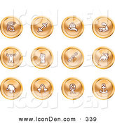 Clip Art of a Set of Orange Strength Icons of a Weightlifter, Man Carrying a Globe, Fist, Muscles, Weights, Helmet, Elephant, Anchor, Links and Bull on a White Background by AtStockIllustration
