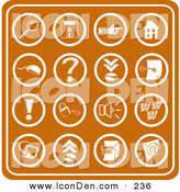 Clip Art of a Set of Orange Web Icons Including a Magnifying Glass, Disc, Pointer, Home, Computer Mouse, Question Mark, Key, Exclamation Point, Padlock, Speaker, Www, Screen, Camera and Email by AtStockIllustration
