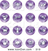 Clip Art of a Set of Purple Icons of an Arrow, Floppy Disc, Padlock, Mail, Coffee, Link, Laptop, Printer, Shopping Cart, Hourglass, Computer, Email, Apple, House, Camera and Globe by AtStockIllustration