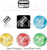Clip Art of a Set of Seven Different Colored ATM, Debit and Credit Card Icon Buttons by AtStockIllustration