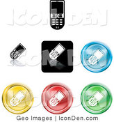 Clip Art of a Set of Seven Different Colored Cell Phone Icon Buttons by AtStockIllustration