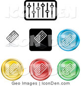 Clip Art of a Set of Seven Different Colored Equalizer Icon Buttons by AtStockIllustration
