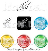 Clip Art of a Set of Seven Different Colored Icon Buttons of a Finger Pushing a Button by AtStockIllustration