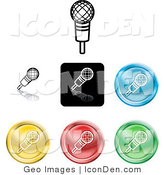 Clip Art of a Set of Seven Different Colored Microphone Icon Buttons by AtStockIllustration