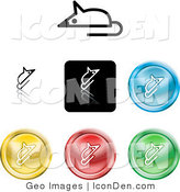 Clip Art of a Set of Seven Different Colored Mouse Icon Buttons by AtStockIllustration