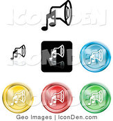 Clip Art of a Set of Seven Different Colored Music Speaker Icon Buttons by AtStockIllustration