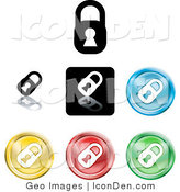 Clip Art of a Set of Seven Different Colored Padlock Button Icons by AtStockIllustration