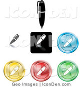 Clip Art of a Set of Seven Different Colored Pencil Icon Buttons on White by AtStockIllustration