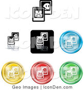 Clip Art of a Set of Seven Different Colored Picture Icon Buttons by AtStockIllustration