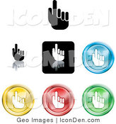 Clip Art of a Set of Seven Different Colored Pointing Hand Icon Buttons by AtStockIllustration