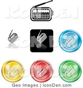 Clip Art of a Set of Seven Different Colored Radio Icon Buttons by AtStockIllustration