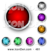 Clip Art of a Set of Shiny Red, Blue, Green, Purple, Pink, Orange and Black Internet Buttons Framed in Chrome, on White by KJ Pargeter