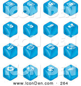 Clip Art of a Set of Sixteen Blue Cube Icons of Page Forward, Page Back, Upload, Download, Email, Snail Mail, Envelope, Refresh, News, Www, Home Page, and Information by AtStockIllustration