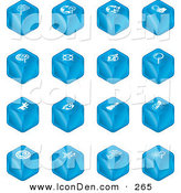 Clip Art of a Set of Sixteen Blue Cube Icons of Searches, View Finders, Www, Magnifying Glasses, Dogs, Flashlight, and Spider by AtStockIllustration