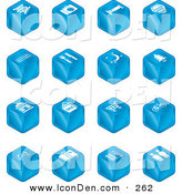 Clip Art of a Set of Sixteen Blue Cube Icons of Tickets, Camera, Bed, Hotel, Bus, Restaurant, Moon, Tree, Building, Shopping Bags, Shopping Cart, Bike, Wine Glasses, Luggage, Train Tracks, Road, and Restrooms by AtStockIllustration