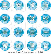 Clip Art of a Set of Sixteen Blue Icons of a Polaroid, News, Cubes, Padlock, Www, Search, Book, Alarm Clock, Connectivity, Messenger, Speaker, Calculator, Home, Blog and Joystick by AtStockIllustration