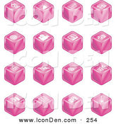 Clip Art of a Set of Sixteen Pink Cube Icons of a Microphone, Tv, Cam Corder, Music Notes, Film Reel, Film Camera, Polaroid Picture, Record Player, Clapboard, Sound Off, Sound On, Film, Speaker, and Guitar by AtStockIllustration