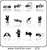 Clip Art of a Set of Twelve Black Hand Gestures on a White Background by AtStockIllustration