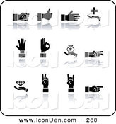 Clip Art of a Set of Twelve Black Silhouetted Hands Gesturing on a White Background by AtStockIllustration