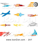 Clip Art of a Set of Twelve Colorful Speed Icons of a Winged Envelope, Flaming Race Car, Tire, Blue Dove, Flying Jet, Super Hero, Rocket, Lightning Bolt, Rabbit, Runner, Cheetah and Sailboat, over a White Background by AtStockIllustration