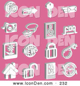 Clip Art of a Set of White Business and Communication Icons on Pink by AtStockIllustration