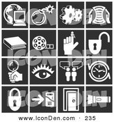 Clip Art of a Set of White Icons over a Black Background, Including a Computer over a Globe, Bomb, Cogs, Letter, Book, Film Reel, Reminder on a Finger, Padlock, Magnifying Glass, Eye, Messenger, Clock, Doorway, and Flashlight by AtStockIllustration
