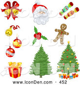 Clip Art of a Set of Xmas Icons of Bells, Ornaments, Santa, Candy, Holly, Gingerbread, Christmas Trees, and Presents by Tonis Pan