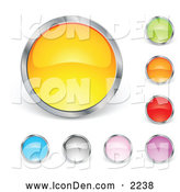 Clip Art of a Set of Yellow, Green, Orange, Red, Purple, Pink, Gray and Blue Circular Buttons by Beboy