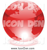 Clip Art of a Shiny 3d Red Earth with Light Reflecting off of the Bottom by Cidepix