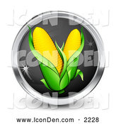 October 24th, 2013: Clip Art of a Shiny Black and Chrome Internet Button with Two Ears of Corn by Beboy