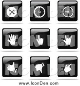 Clip Art of a Shiny Black and White Square Time and Hand Website Button Icons by Jiri Moucka