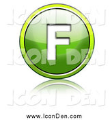 Clip Art of a Shiny Green Capital F Icon by Chrisroll