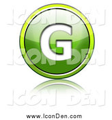 Clip Art of a Shiny Green Capital G Icon Button by Chrisroll