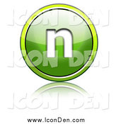 Clip Art of a Shiny Green Lowercase N Icon by Chrisroll