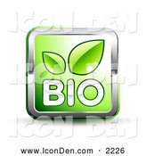 October 25th, 2013: Clip Art of a Shiny Green Square Website Button with Bio Text, Green Leaves and Chrome Trim by Beboy