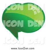 Clip Art of a Shiny Green Word, Chat or Speech Bubble Icon by KJ Pargeter