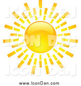 Clip Art of a Shiny Hot Summer Sun Icon by KJ Pargeter