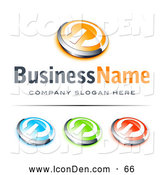 Clip Art of a Shiny Orange and Chrome Power Button, Blue Green and Red Buttons Also Included, with Space for a Business Name and Company Slogan Below by Beboy