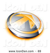 Clip Art of a Shiny Orange Arrow on a Chrome Button with an Orange Shadow by Beboy